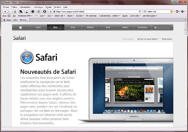 Safari un navigateur cr par apple pour mac et pc for Ecran pc mac